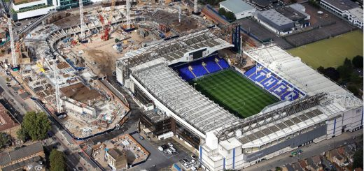 white hart lane with new stadium in the background