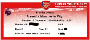 Sample Arsenal eTicket with Seat Info