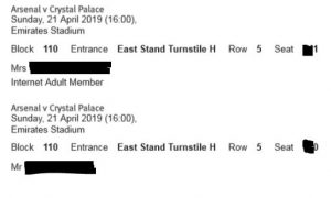 Sample Arsenal Ticket Printout with Seat Details