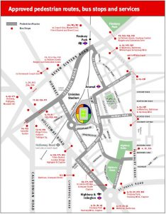 Emirates Stadium - Pedestrian Routes, Bus Stops and Services