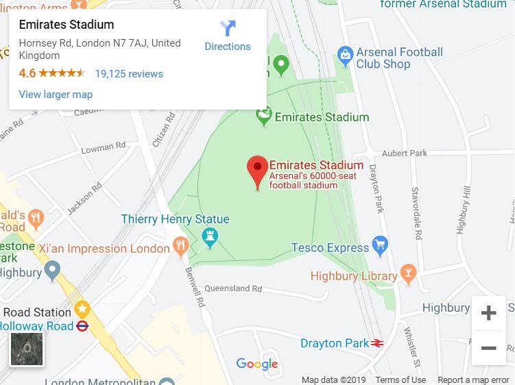 Google Map - Emirates Stadium